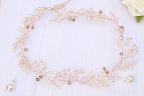 Matilda Rose Gold Pearl Hair Vine